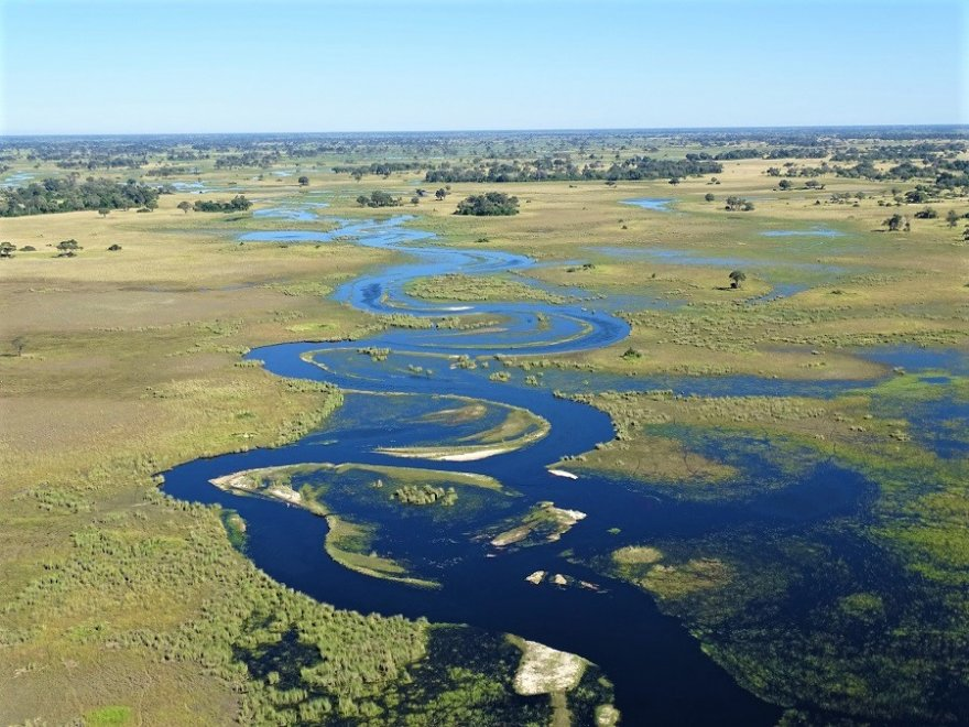 Botswana Okavango Delta aus der Luft Flugsafari